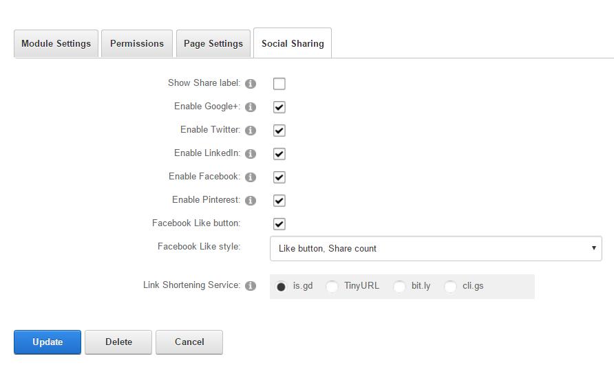 Module Settings — Social Sharing