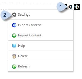 Manage action menu > Settings