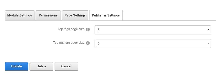 Module Settings — Publisher