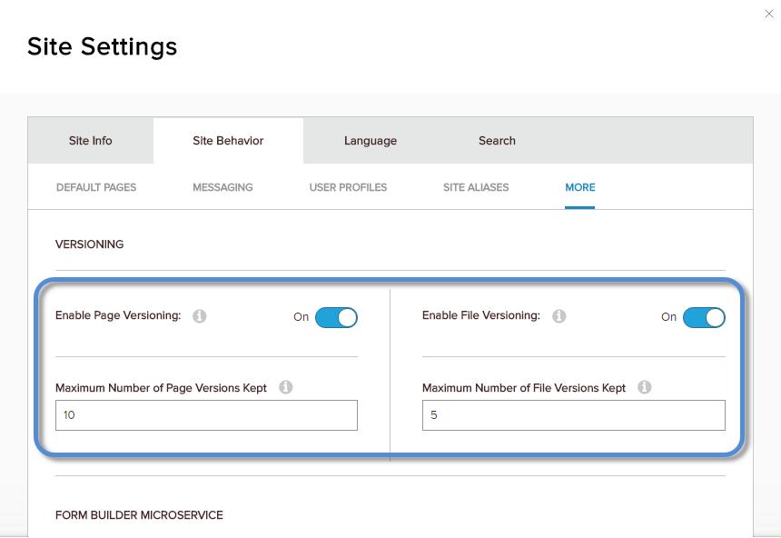 Site Settings > Site Behavior > More — Versioning