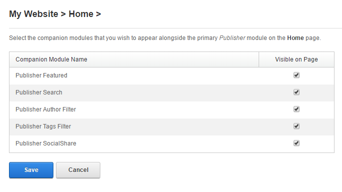 Companion modules for the Publisher module