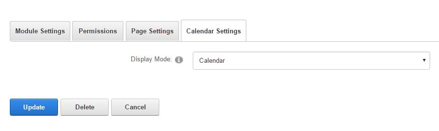 Module Settings — Calendar