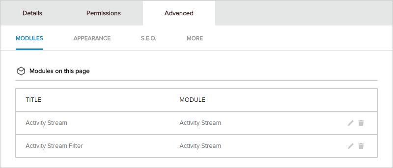 Page > Advanced > Modules