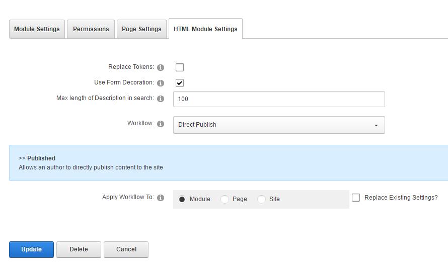 Module Settings — HTML on DNN Platform
