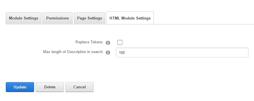 Module Settings — HTML Pro on DNN Evoq