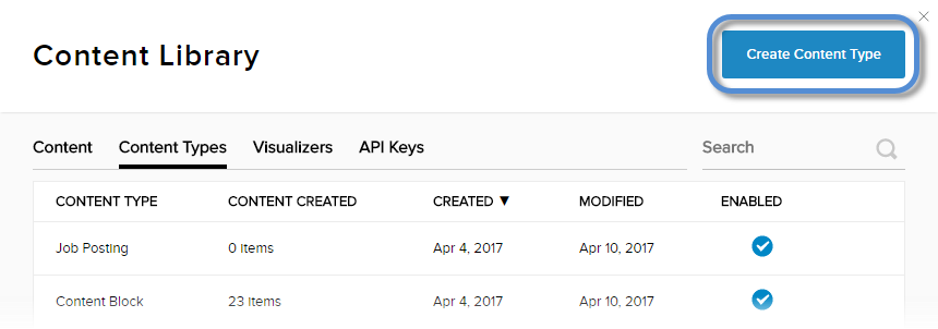 Content > Content Types tab > Create Content Type