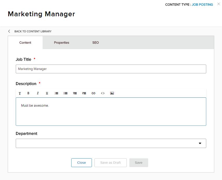 Creating a Job Posting content item