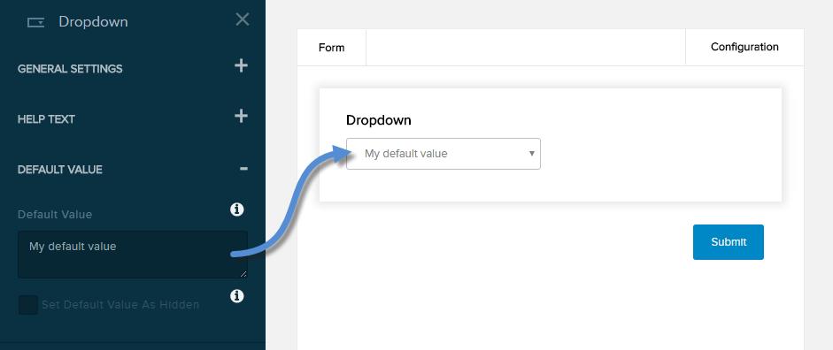 Settings for Dropdown field