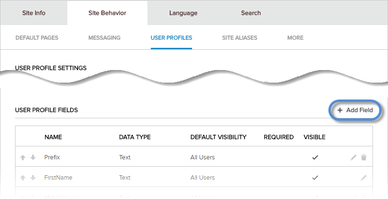 Site Settings > Site Behavior > User Profiles > User Profile Fields > Add