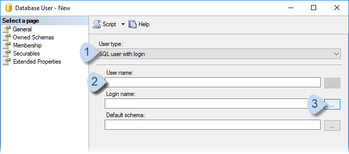 User type = SQL user with login