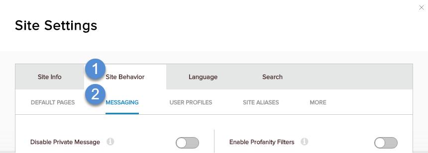 Site Behavior > Messaging