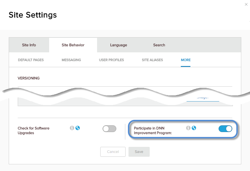 Site Settings > Site Behavior > More — Participate in DNN Improvement Program