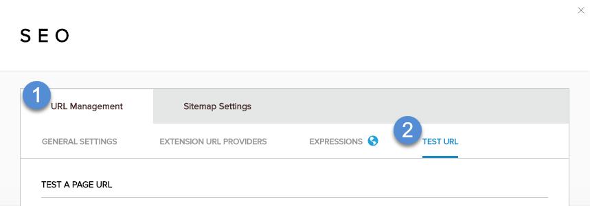 URL Management > Test URL