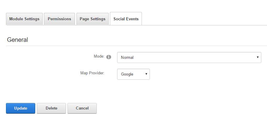 Module Settings — Social Events