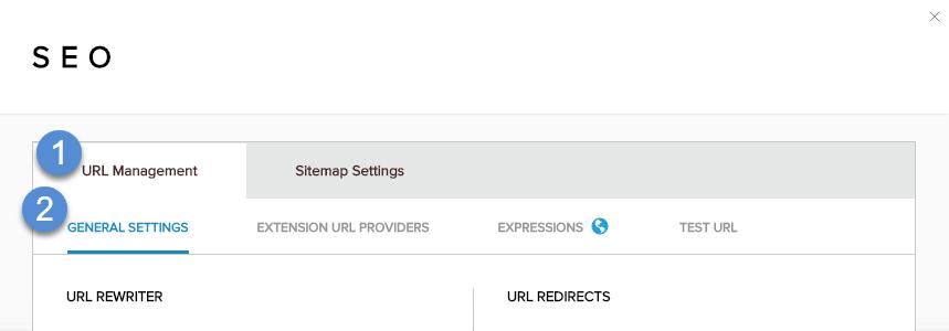 URL Management > General Settings
