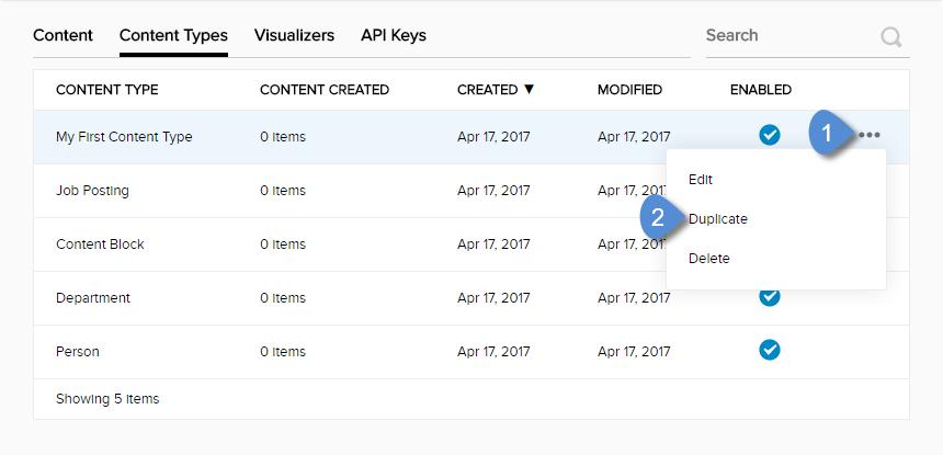 Content Type ellipses menu > Duplicate