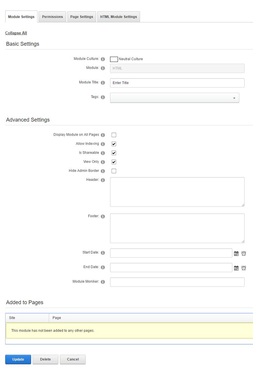 Module Settings tab
