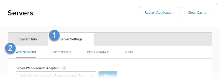 Server Settings > Web Servers