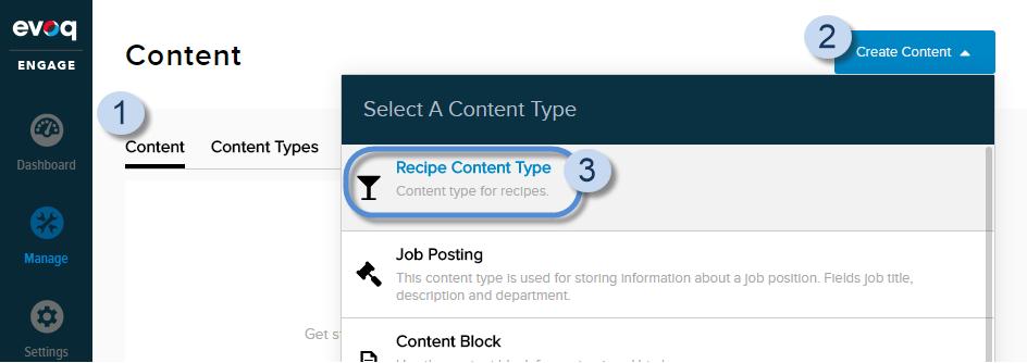Create content item (Content Type = Recipe Content Type).