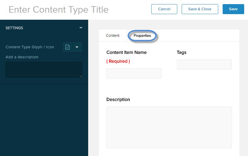 Content Type properties