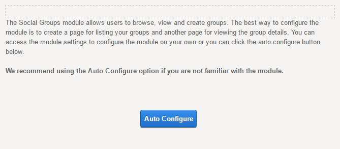 Module Settings — Social Groups — Auto Configure