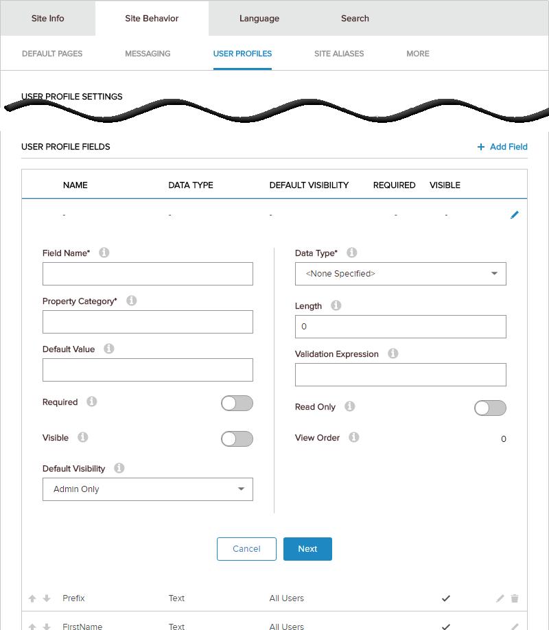 Site Settings > Site Behavior > User Profiles > User Profile Fields > New Field