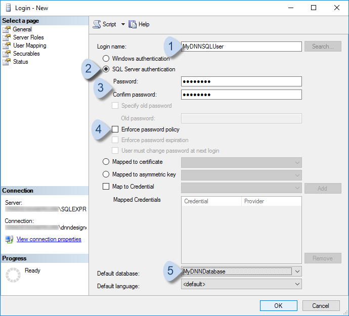 Choose SQL Server authentication. Uncheck Enforce password policy.