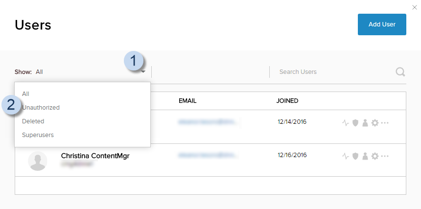 User List > Show dropdown > Unauthorized