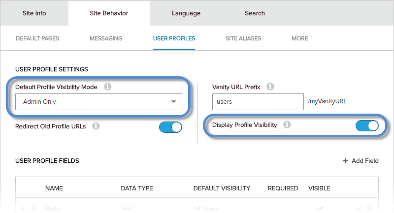 Site Settings > Site Behavior > User Profiles — visibility settings