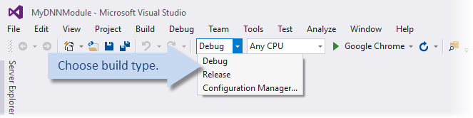 Visual Studio build type dropdown