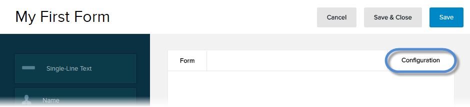 Form > Configuration