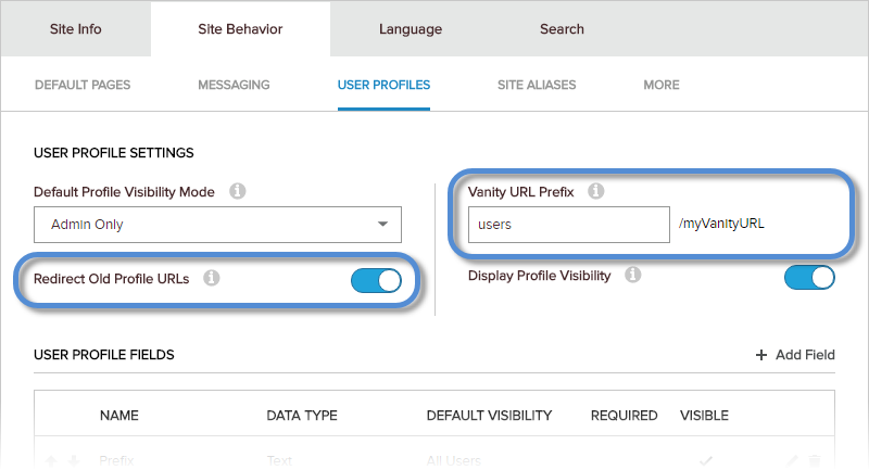 Site Settings > Site Behavior > User Profiles — vanity URL settings