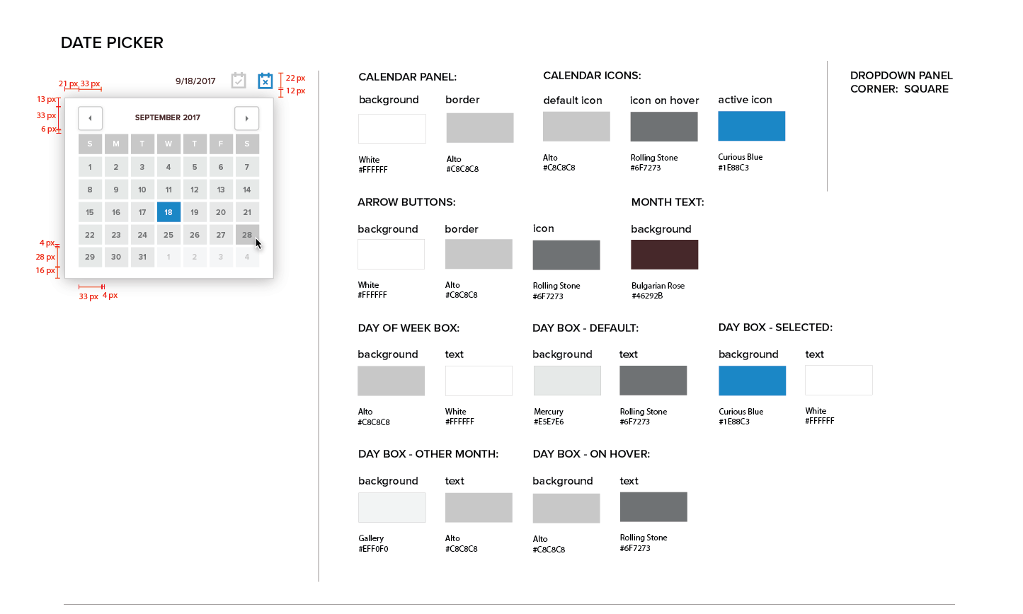 Persona Bar Style Guide - Date Picker
