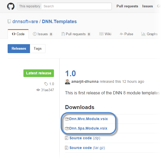 Download DNN8 templates from Github.