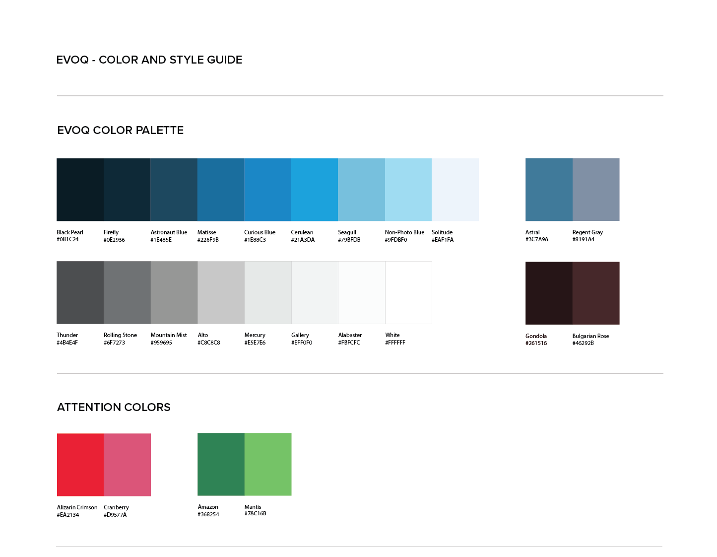 Persona Bar Style Guide - Evoq Color Palette